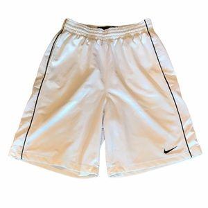 Nike Basketball Shorts White w/ Black Stripe Med